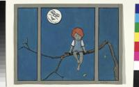 Kind bei Vollmond. Illustration zu einem Kinderbuch