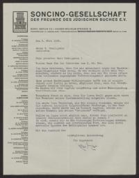 Brief von Herrmann Meyer (1901-1972) an Sigmund Seeligmann (1873-1940)